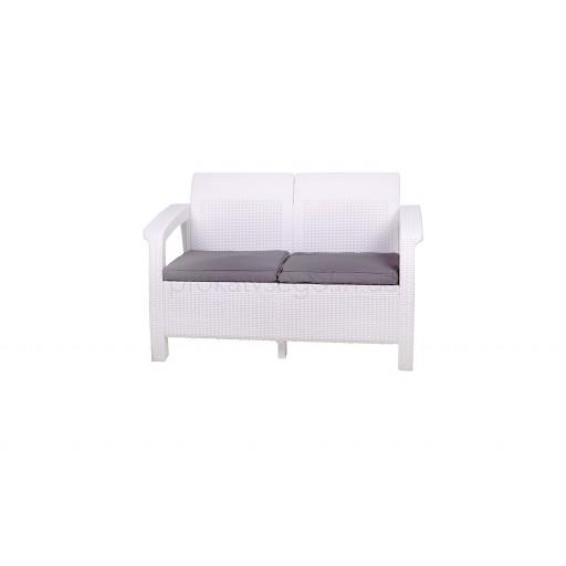 Белый ротанговый диван 2х местный