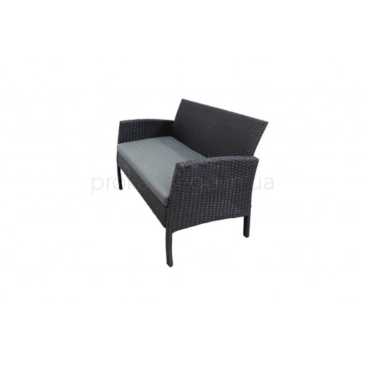 Черный Ротанговый диван 2х местный
