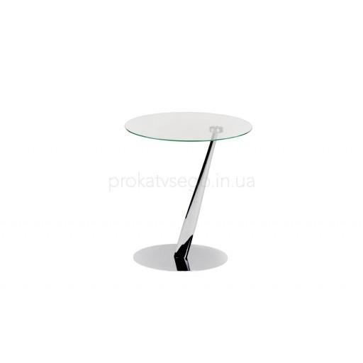 Стеклянный  столик с косой ножкой 52см